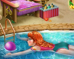 Анна купается в бассейне